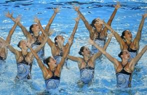 Budapest, 2017. július 20. A spanyol csapat a szinkronúszás kombinációs szabadgyakorlatának selejtezõjében a 17. vizes világbajnokságon a Városligetben 2017. július 20-án. MTI Fotó: Czeglédi Zsolt