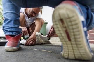 Hejõpapi, 2017. augusztus 1. Lehoczky Krisztián, a Mályi Természetvédelmi Egyesület elnöke, a mályi madármentõ állomás vezetõje egy sérült szárnyú fehér gólyát (Ciconia ciconia) részesít elsõsegélyben Hejõpapiban 2017. július 31-én. Az egyesület madármentõ állomása mentési és tanácsadási céllal mûködik, munkatársai a település 30-40 kilométeres körzetében segítenek a rászoruló madarakon és kisemlõsökön. MTI Fotó: Komka Péter