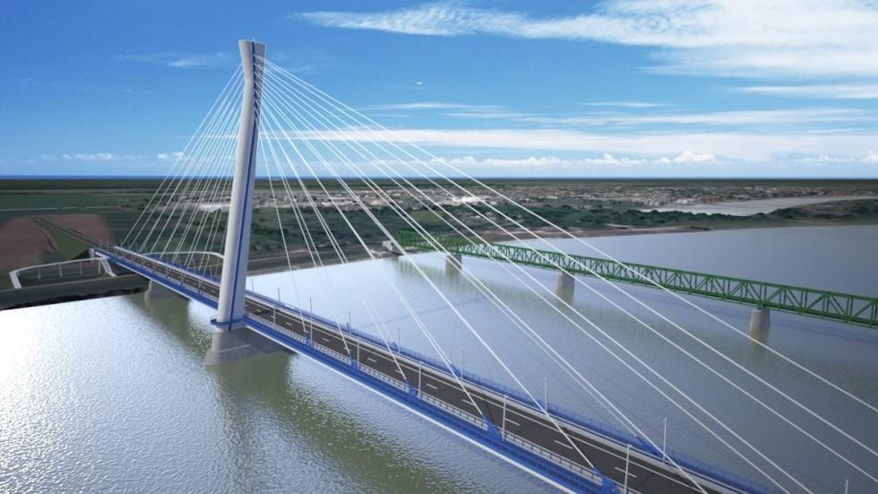 Épül az új Duna-híd Komáromnál