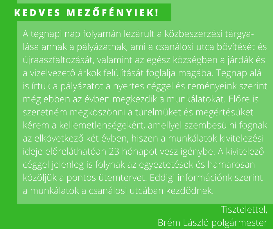 Brém László mezőfényi polgármester felhívása